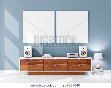 Two square white canvas Mockups hanging on the blue wall, hi fi audio micro system on bureau, 3d rendering poster