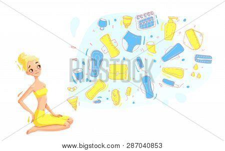 Conceptual Vector Illustration Of Feminine Hygiene Products . Menstrual Cups, Sea Sponge, Sanitary