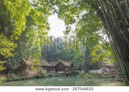 Chengdu, Sichuan Province, China - Dec 22, 2015 : People Visiting Du Fu Thatched Cottage Park - Buil