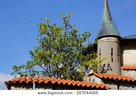 Detail Of Castle Small Tower Red Roof