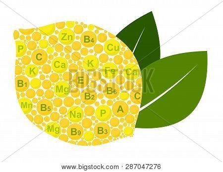 Lemon Benefits. Vitamins And Minerals Of Lemon. Infographics Nutrients In Lemon Fruit. Vector Illust
