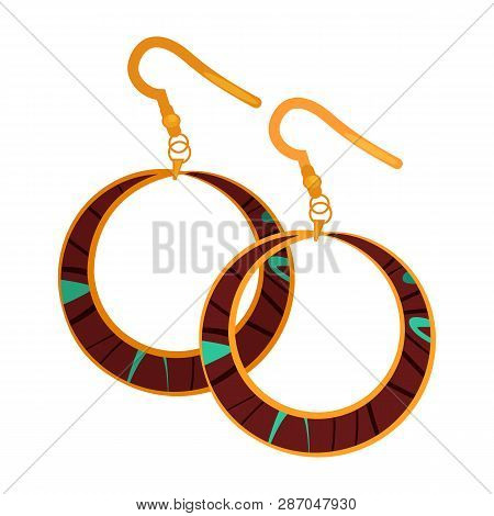 Big Drop Earrings. Ring Shaped Pendant, Gold, Bijouterie. Jewelry Concept. Vector Illustration Can B