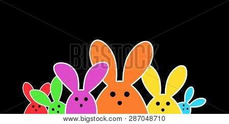 Colorful Easter Bunny As Illustration On Black  Background. Easter Background For The Colorful Easte