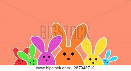 Colorful Easter Bunny As Illustration On Creme Colored Background. Easter Background For The Colorfu