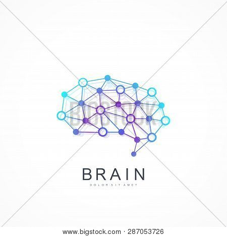 Colorful Vector Template Brain Logo. Artificial Intelligence Logo. Artificial Intelligence And Machi