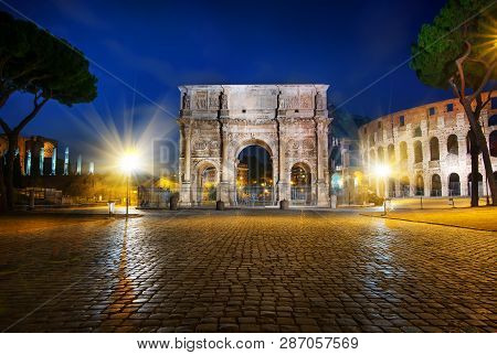 Arch Of Constantine On Colosseum Square In Rome