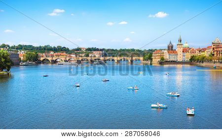 The Charles Bridge In Prague At Summer Day