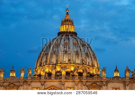 Rome, Italy - June 17 2016. View Of St. Peters Basilica In Vatican City