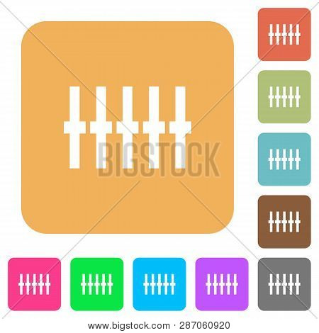 Graphical Equalizer Flat Icons On Rounded Square Vivid Color Backgrounds.