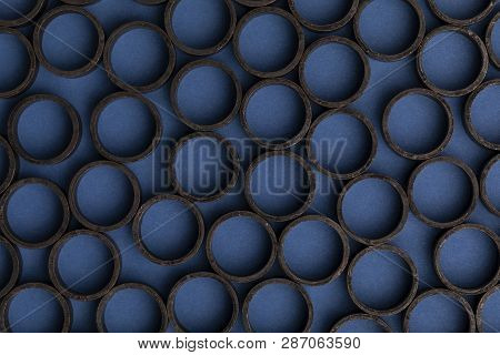 Pex Pipe Crimp Rings with blue background. poster