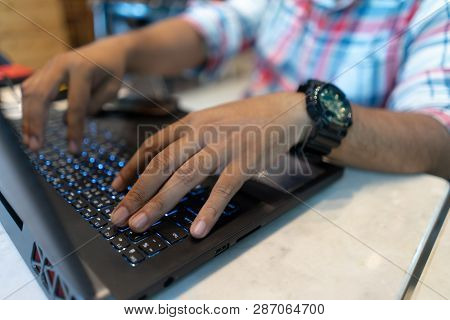 Business Man Using Laptop Computer, Close Up Hand Typing Notebook Keyboard. Freelance Working On Lap