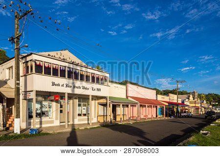 Levuka, Fiji - Jan 9 2015: Colourful Vibrant Street Of Old Colonial Capital Of Fiji - Levuka Town, O