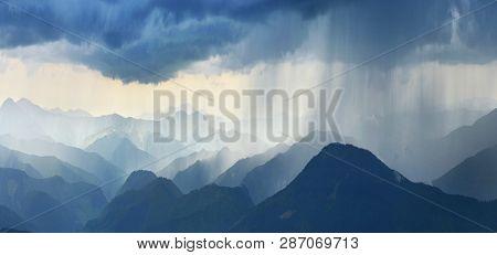 Rain In Mountains. Heavy Rain In Spring Highland