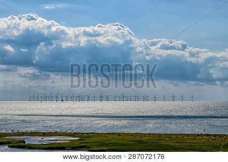 A Wind Farm Situated In The Oresund Straight Between Sweden And Denmark.