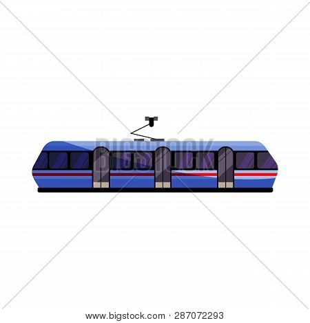 Blue Tramway Illustration. Vehicle, City Transport. Transport Concept. Vector Illustration Can Be Us