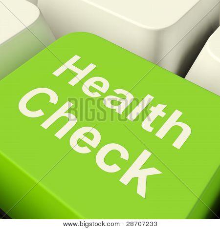 Health Check Computer Key In Green Showing Medical Examination