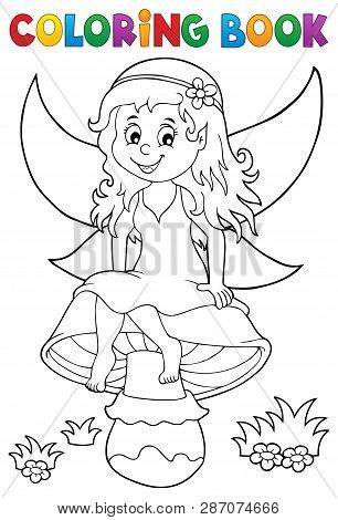 Coloring Book Fairy Sitting On Mushroom - Eps10 Vector Picture Illustration.