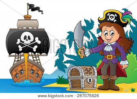 Pirate Girl Theme Image 6 - Eps10 Vector Picture Illustration.
