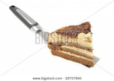 Piece Of Chocolate Cake On Spatula