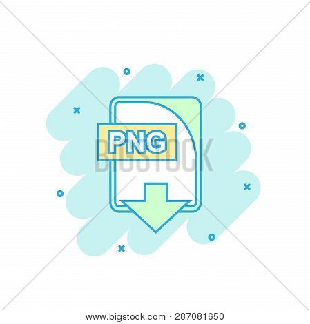 Cartoon colored PNG file icon in comic style. Png download illustration pictogram. Document splash business concept. poster