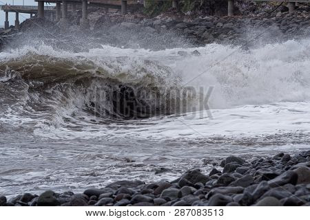 Winding Wave On The Coast At Stormy Weather. Portuguese Island Of Madeira