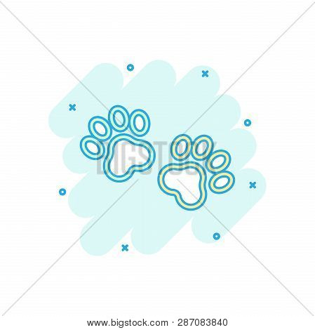 Vector Cartoon Paw Print Icon In Comic Style. Dog Or Cat Pawprint Sign Illustration Pictogram. Anima