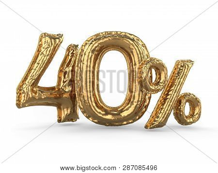 Golden Forty Percent Made Of Inflatable Balloons. Percent Set. 3d Rendering