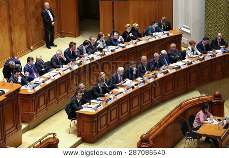 Bucharest, Romania -  February 08, 2017:  Members Of Romanian Government, Lead By Sorin Mihai Grinde