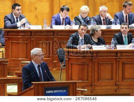Bucharest, Romania -  February 08, 2017:  Romanian Prime Minister, Sorin Mihai Grindeanu (c), Listen