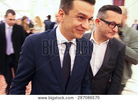 Bucharest, Romania -  February 07, 2017: Romanian Prime Minister, Sorin Mihai Grindeanu (l), Leave A
