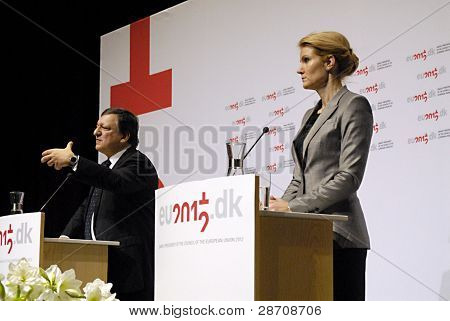 DENMARK / COPENHAGEN _ Joint Press conference by the Ms.Helle Thorning_Schmidt danish prime minister and the presidency of the Council of the Euroepan Union and Euroepaan Union comssion president Barroso at Bella Center today at end of Meeting of the dani