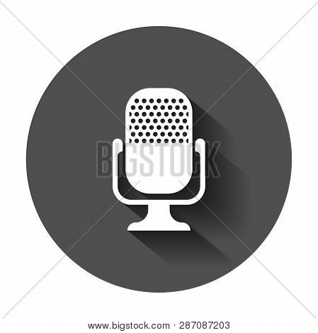 Microphone Icon In Flat Style. Mic Broadcast Vector Illustration With Long Shadow. Microphone Mike S