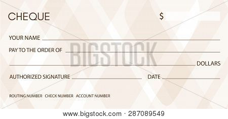 Cheque, Check (Chequebook template). Background with pattern for money design, currency, banknote, bank note, Voucher, Gift certificate, coupon poster