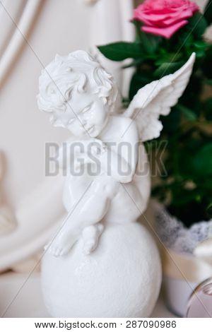 Amur. Cupid Figure. Vintage. Vintage Cupid. Boy Angel. Valentines Day. Eros. Baby. Romantic Figurine