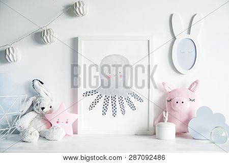 Stylish Scandinavian Newborn Baby Shelf With Mock Up Photo Frame, Box, Teddy Bear And Toys.