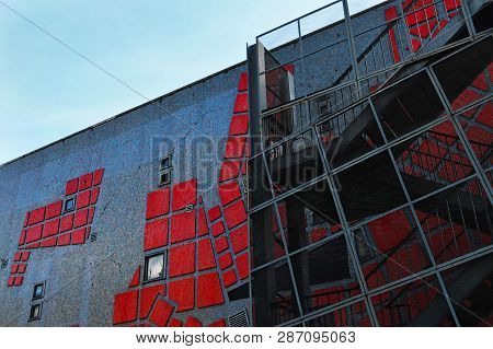 The Side Wall Of The Building Of The Association Of Architecture On The Street Travessa Do Carvalho
