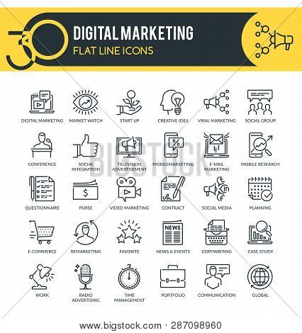 Set Of Modern Outline Icons Of Marketing,  Digital Marketing, Marketing Research And Other. Each Ico