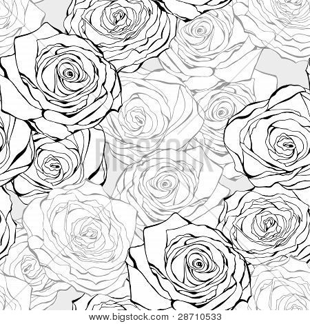Vintage Rose Seamless Vector Pattern