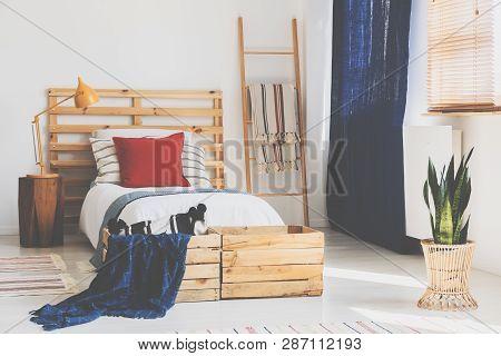 Oldschool Teenager Bedroom Interior With Wooden Furniture, Real Photo