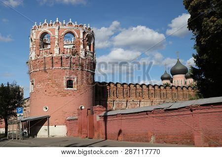 Tower And Walls Of The Donskoy Monastery In Moscow. Russia