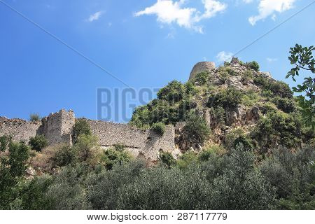 Ruins Of The Fortress Of The Ancient City Of Mystra. Greece, Peloponnese