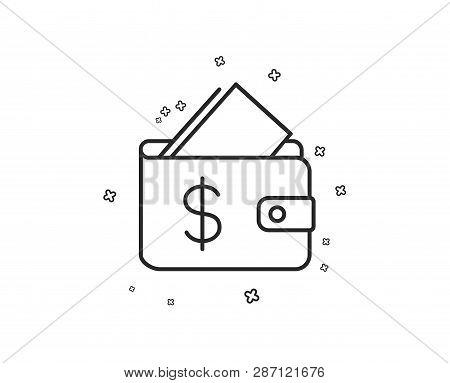 Wallet Line Icon. Affordability Sign. Cash Savings Symbol. Geometric Shapes. Random Cross Elements.