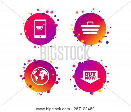 Online shopping icons. Smartphone, shopping cart, buy now arrow and internet signs. WWW globe symbol. Gradient circle buttons with icons. Random dots design. Vector poster