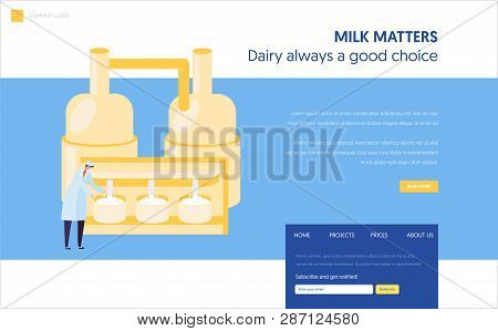 Male Staff Character In Uniform View Milk Pasteurization Process Landing Page. Cheese Food Productio