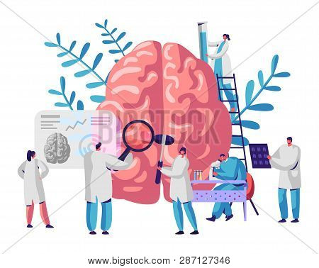 Laboratory Scientist Group Study Human Brain And Psychology. Medical Research Microscope. Head Tomog