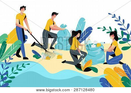 Volunteering, Charity Social Concept. Volunteer People Cleaning Garbage On Beach Area Or City Park,