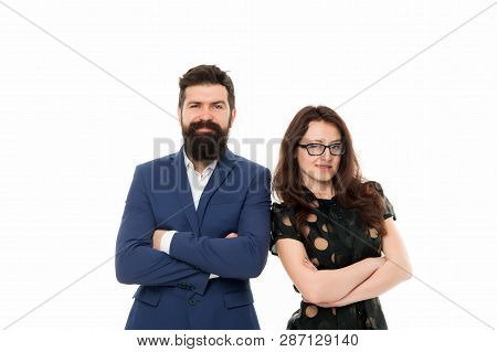 Portrait Of Smiling Business Partners. Business Partner Couple Isolated On White. Happy Businesspeop