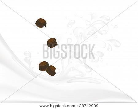 White milk splash with sweet chocolate candies poster
