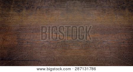 Wood Texture Abstract Background. Top View Of A Dark Rough Wood For Backdrop. Old Brown Wooden Table