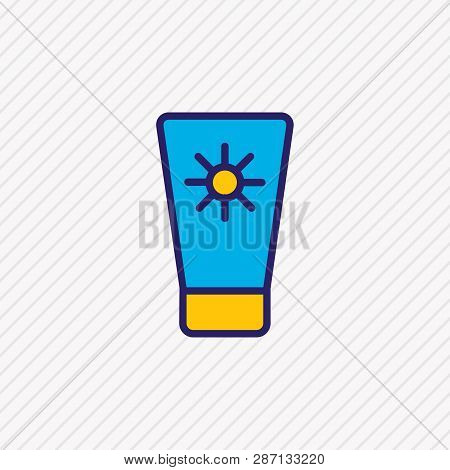 Vector Illustration Of Sunscreen Icon Colored Line. Beautiful Hotel Element Also Can Be Used As Sunt